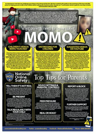 Advice for parents about the momo challenge