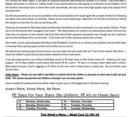 Newsletter Friday 18th September