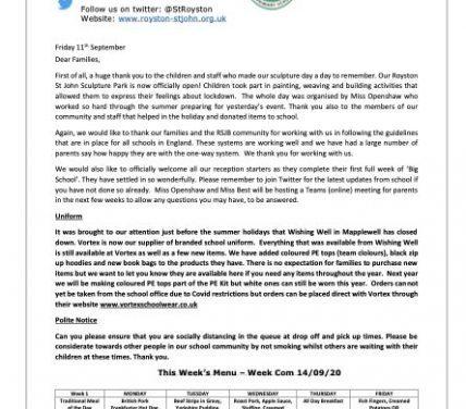 Newsletter 14 September 2020