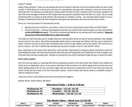 Newsletter Friday 9th October