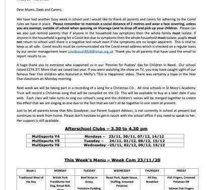 Newsletter  23rd November 2020